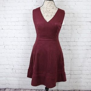 BB Dakota Lynne Faux Suede Fit and Flare Dress